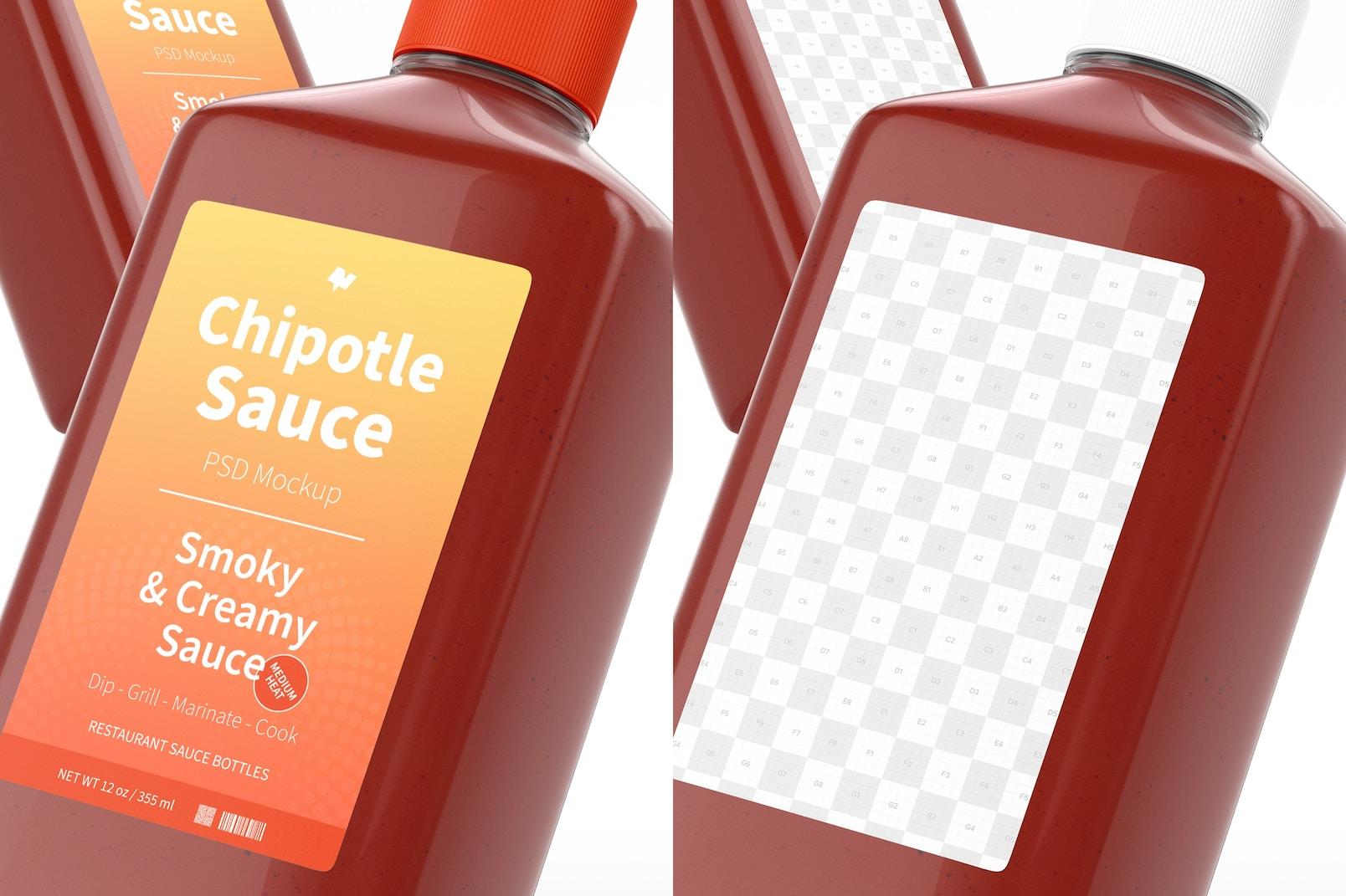 4 oz Chipotle Sauce Bottle Mockup, Close Up