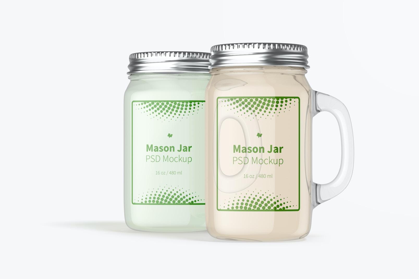 16 oz Mason Jars Mockup