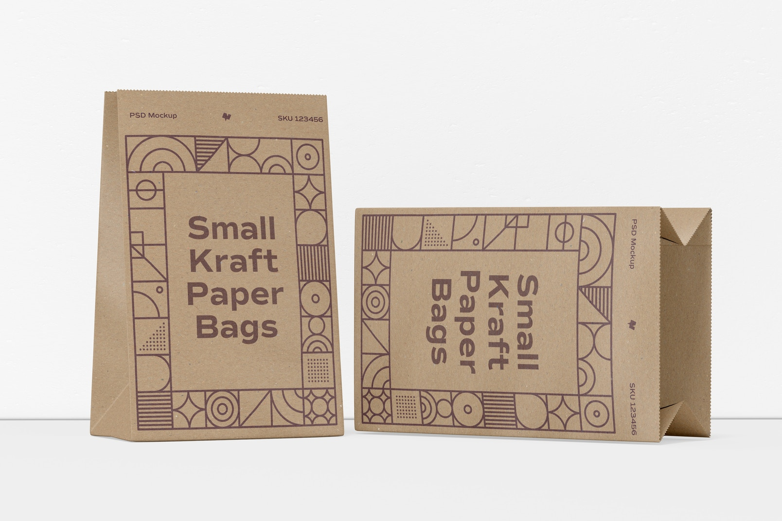 Small Kraft Paper Bags Mockup, Dropped
