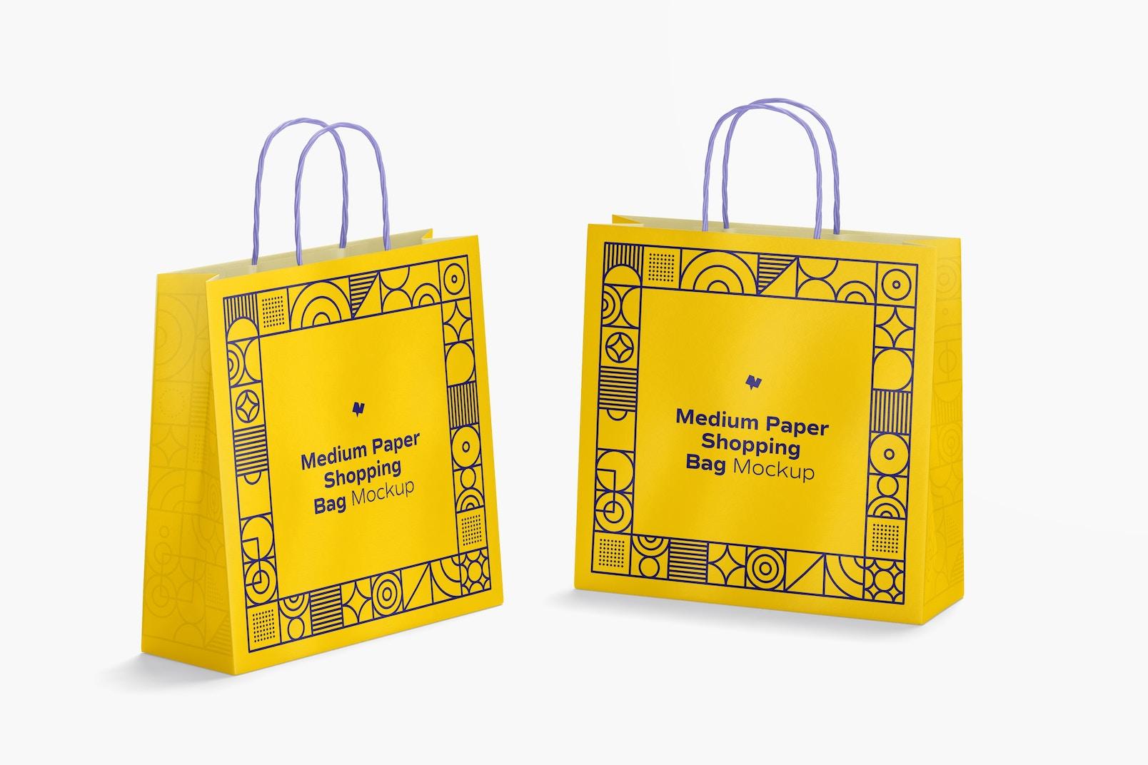 Medium Paper Shopping Bags Mockup, Perspective