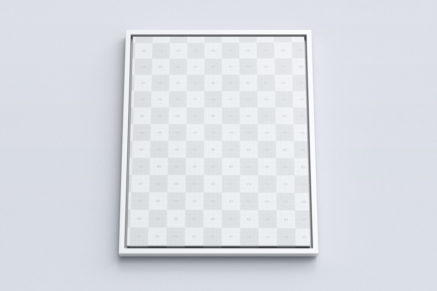 4:5 Portrait Canvas Mockup in Floater Frame, Bottom Front View