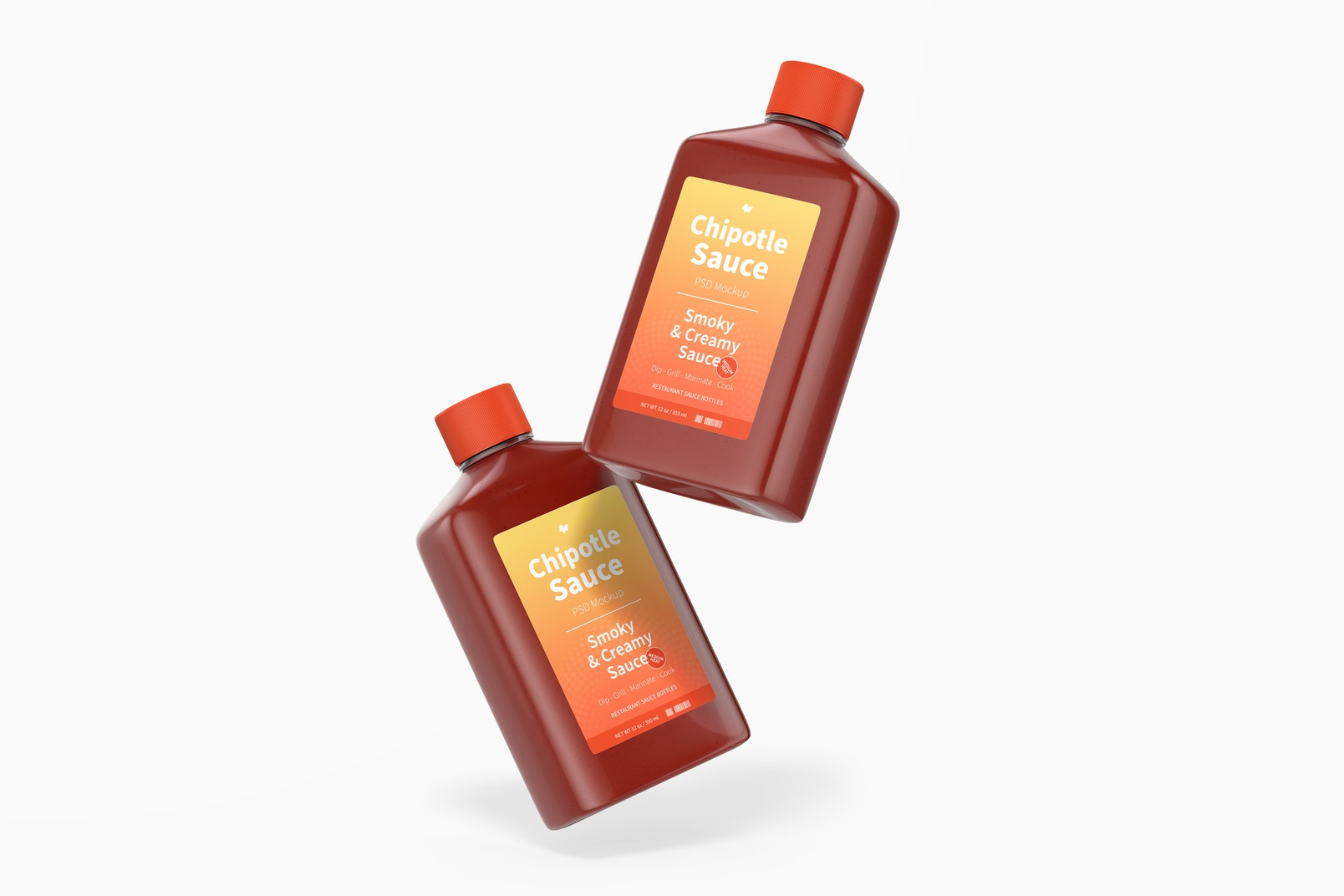 4 oz Chipotle Sauce Bottles Mockup, Floating