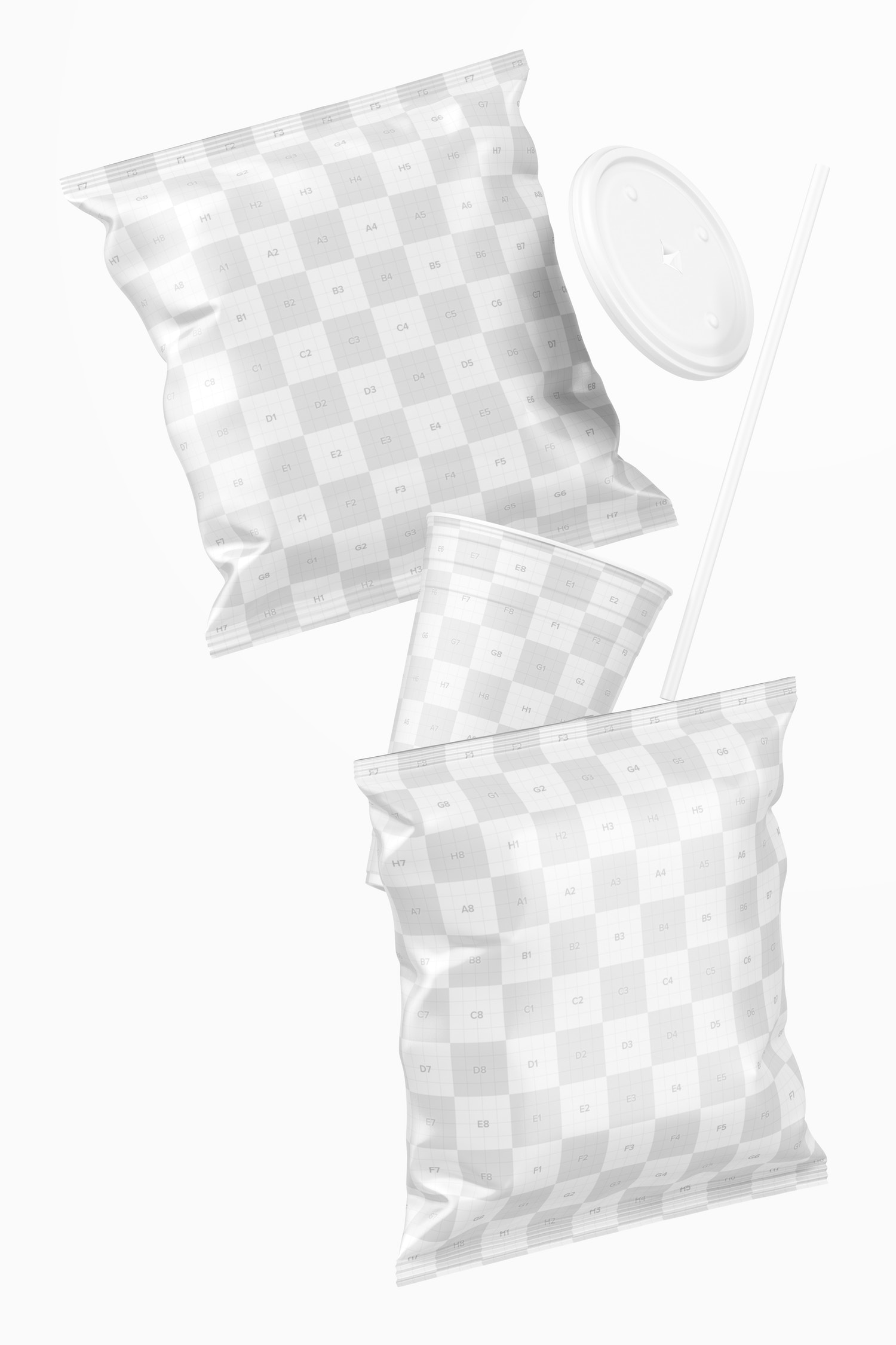 Stubby Chips Bag Mockup, Falling