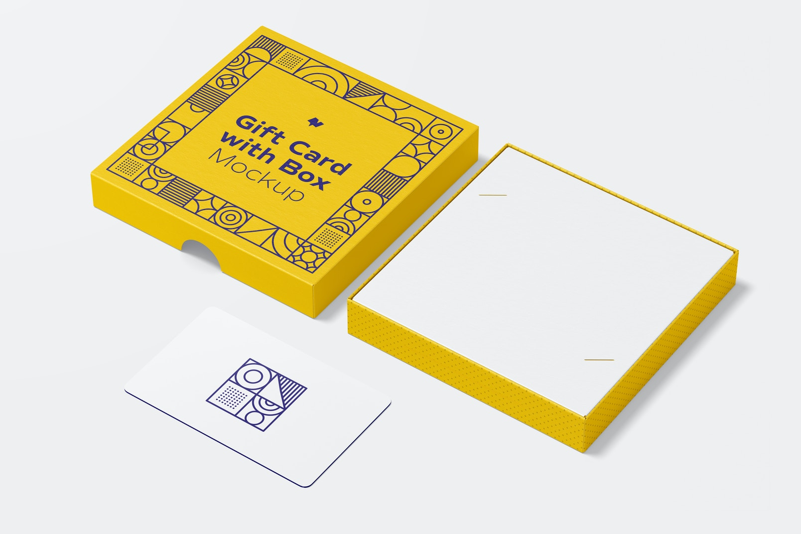 Gift Card with Box Mockup, Right View