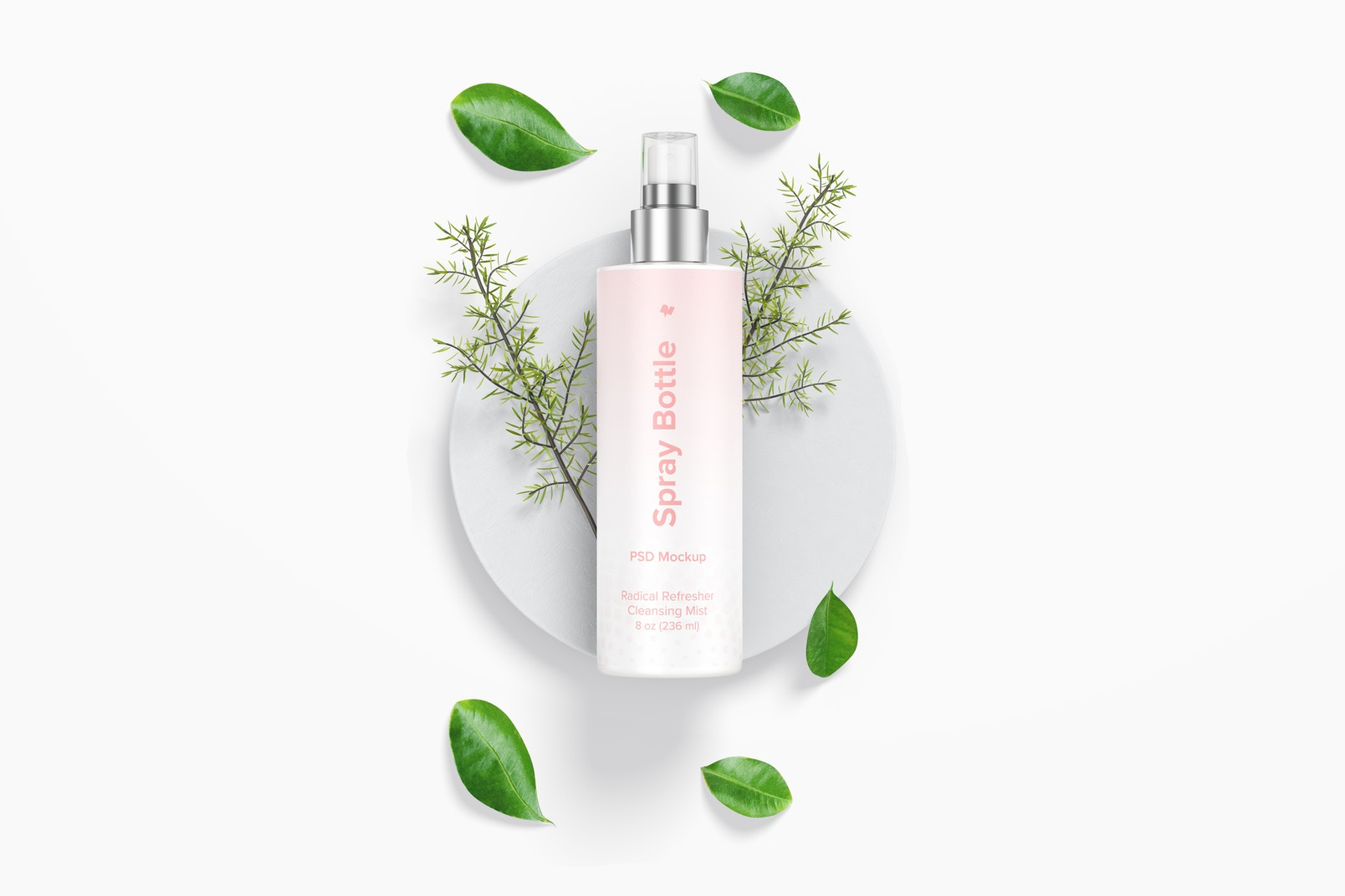8 oz Spray Round Bottle with Leaves Mockup