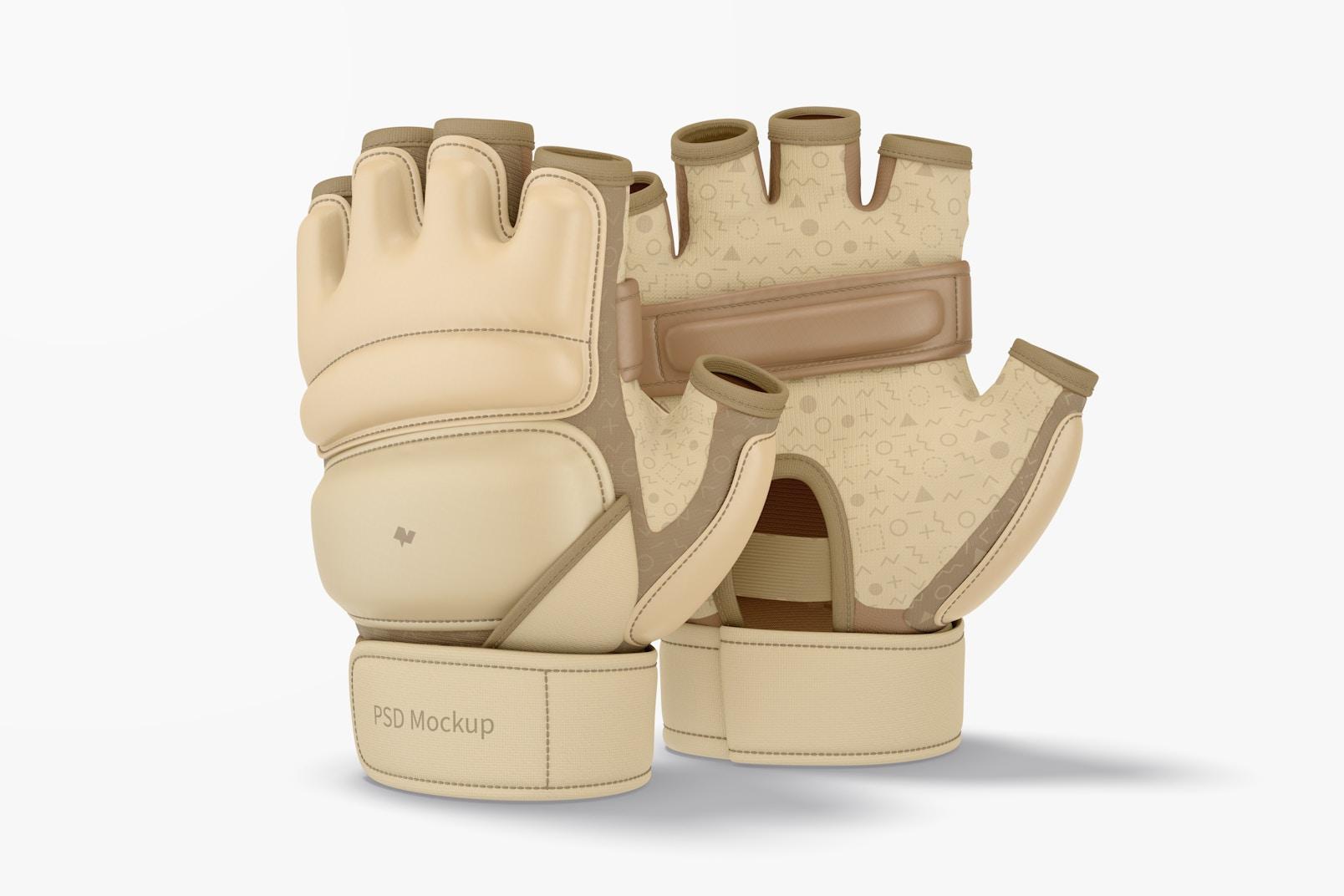 Taekwondo Gloves Mockup, Standing