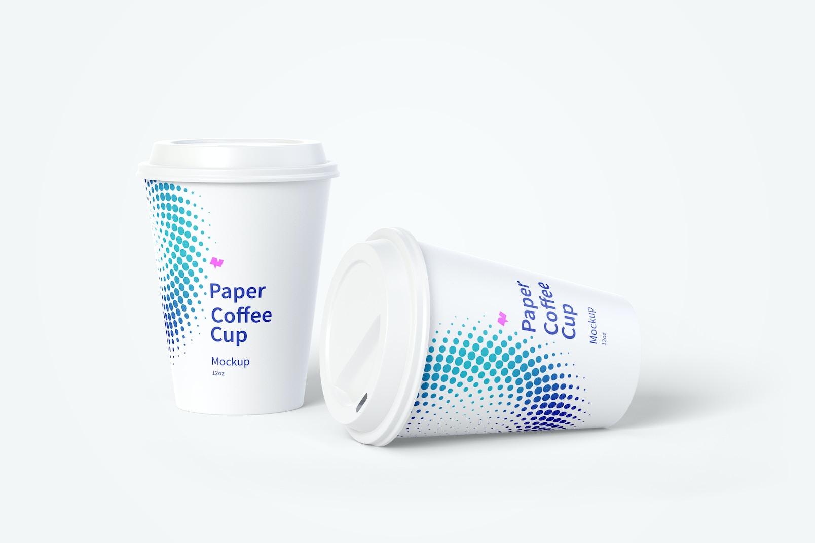 12oz Paper Coffee Cups Mockup 02