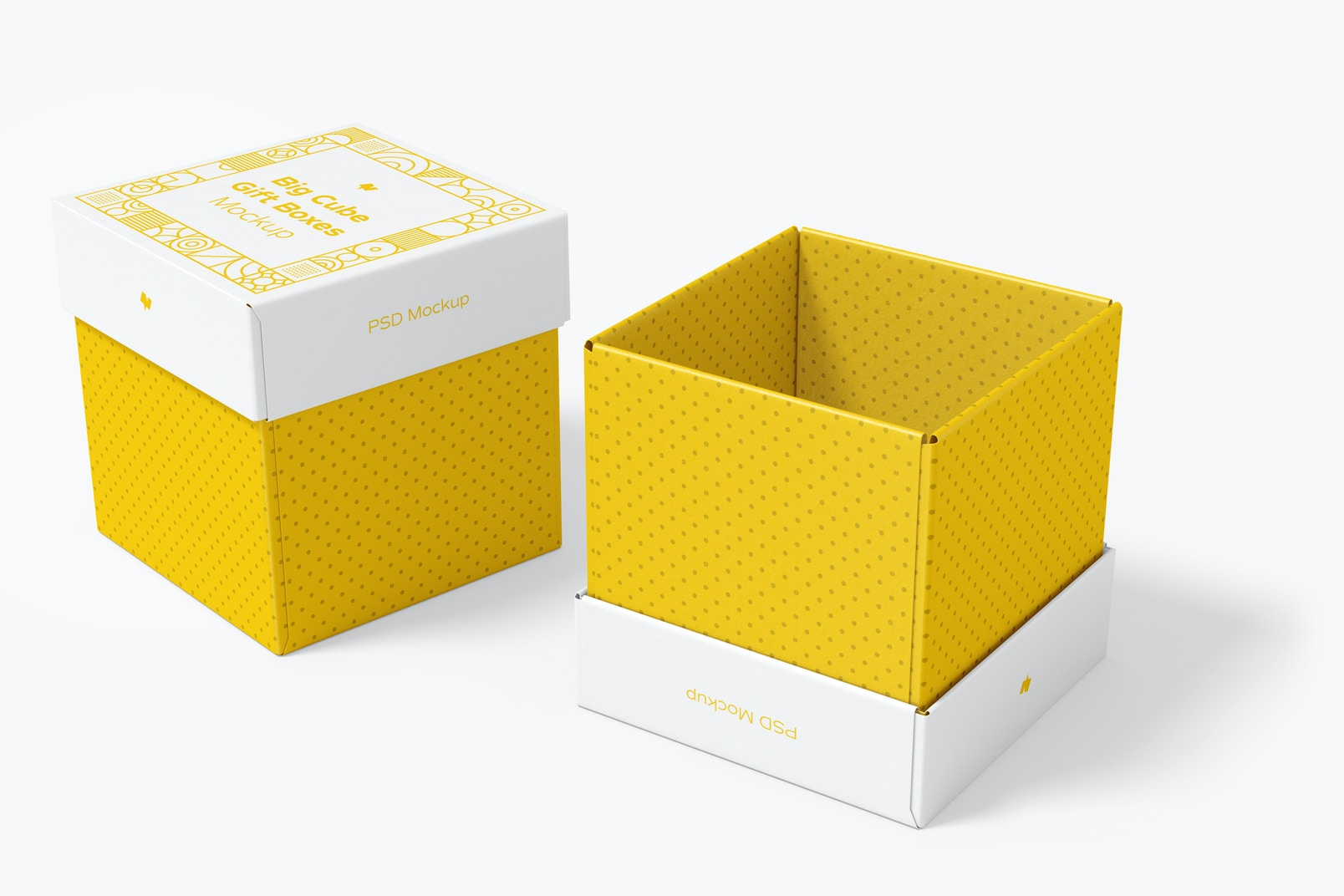 Big Cube Gift Boxes Mockup, Opened and Closed