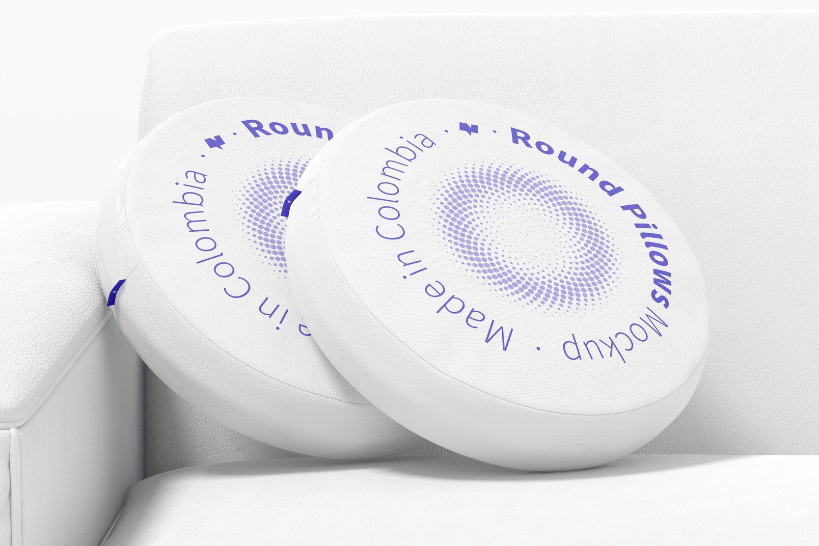 Round Pillows with Sofa Mockup