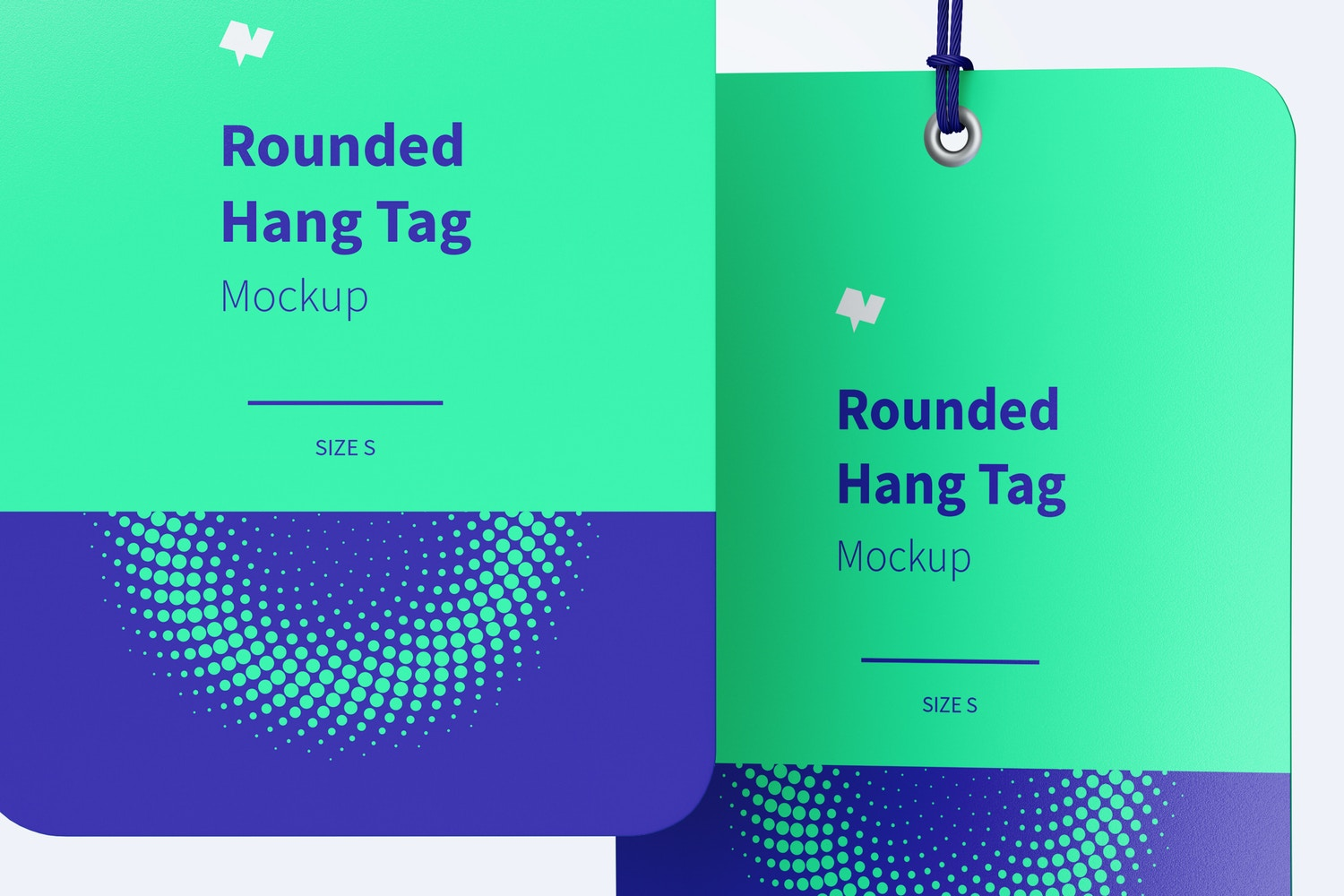 Rounded Hang Tags Mockup with String, Two-sided 03