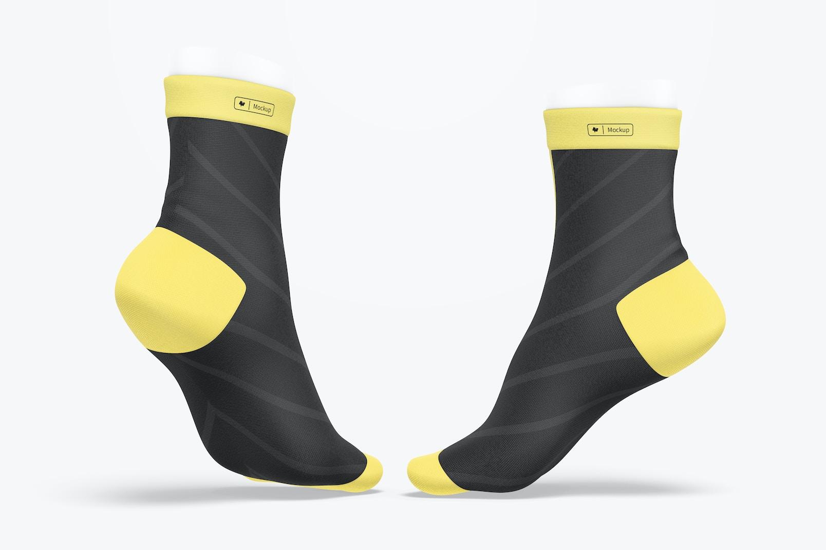Sports Cycling Socks Mockup, Back View