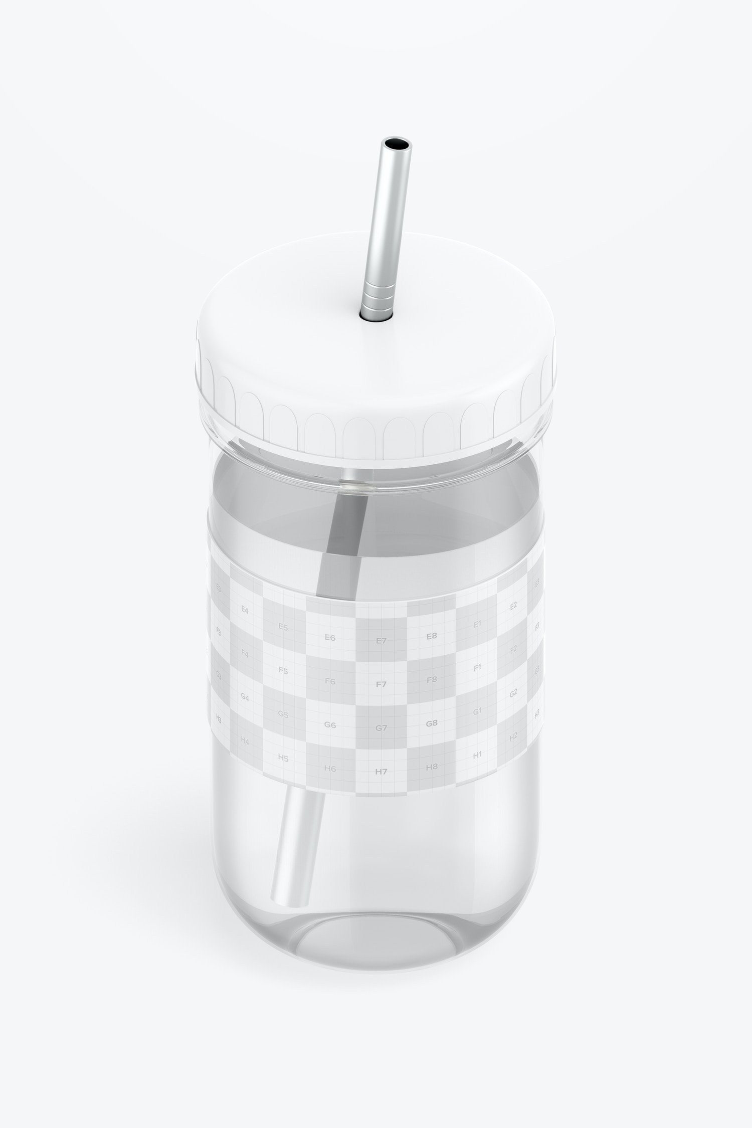 Smoothie Cup with Lid Mockup, Isometric View