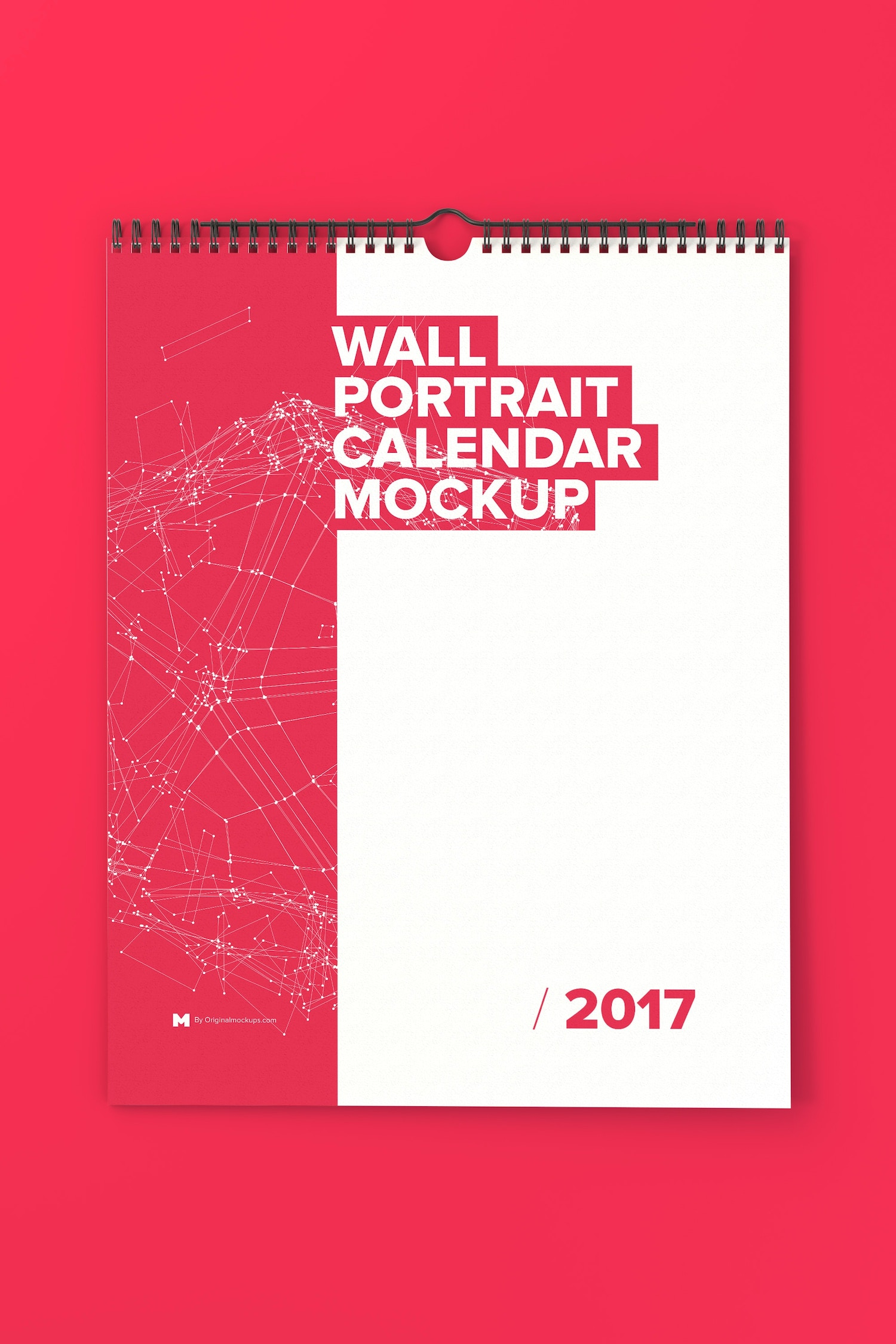 Wall Portrait Calendar Mockup - Custom Background