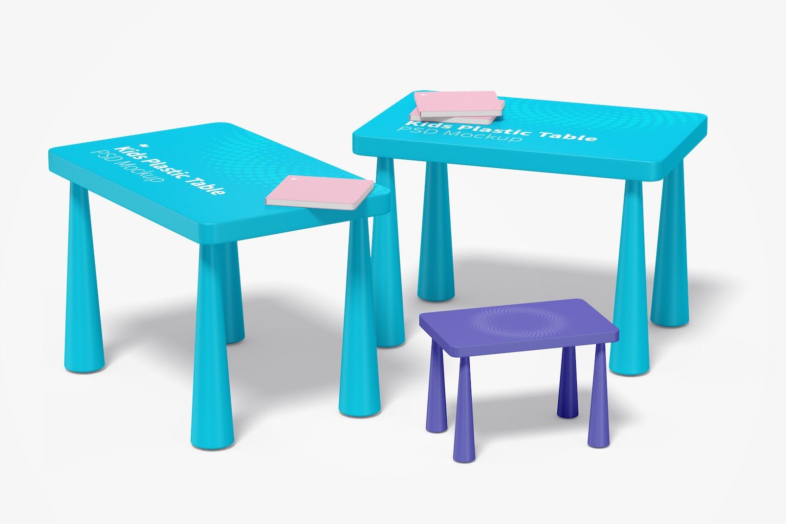 Kids Plastic Table Mockup, Perspective