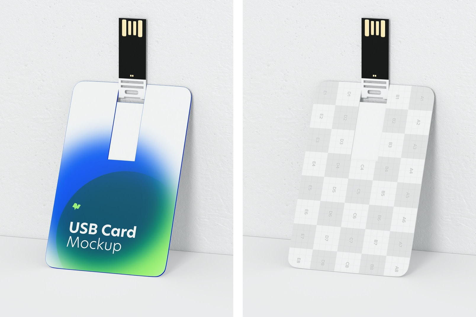 USB Cards Mockup, Perspective View