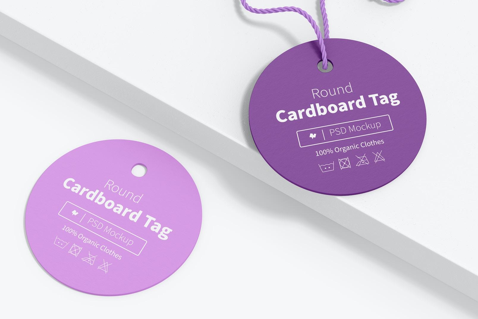 Round Cardboard Tags Mockup