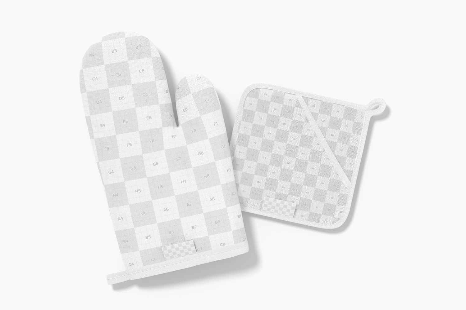Oven Mitt and Potholder Mockup, Front View