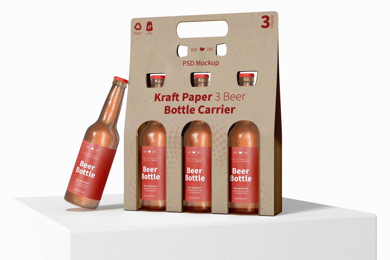 Kraft Paper 3 Beer Bottle Carrier Mockup, on Surface