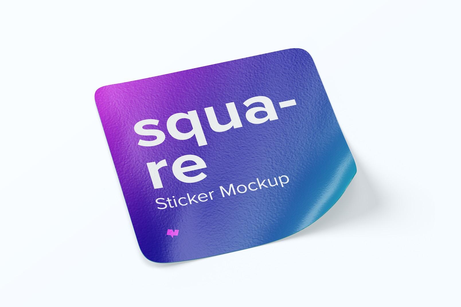 Square Sticker Mockup, Left View