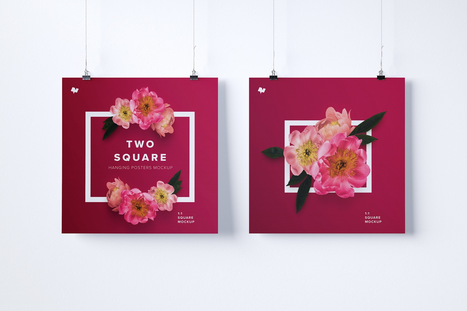 Two 1:1 Square Hanging Posters Mockup