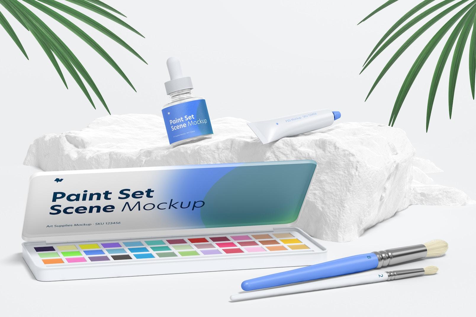 Paint Set Scene Mockup, Front View
