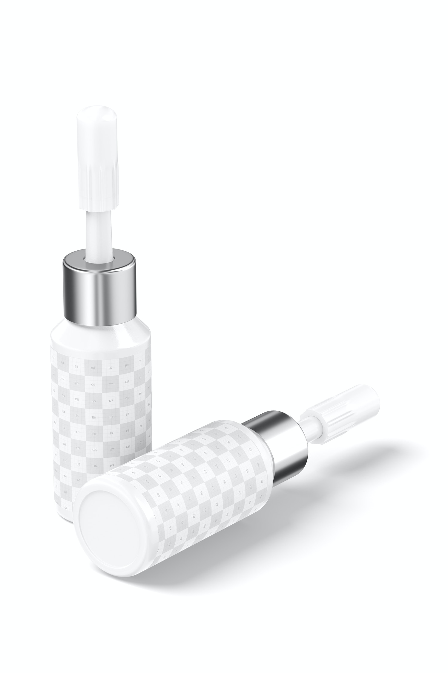 Cosmetic Micro Pigment Tattoo Bottles Mockup, Standing and Dropped