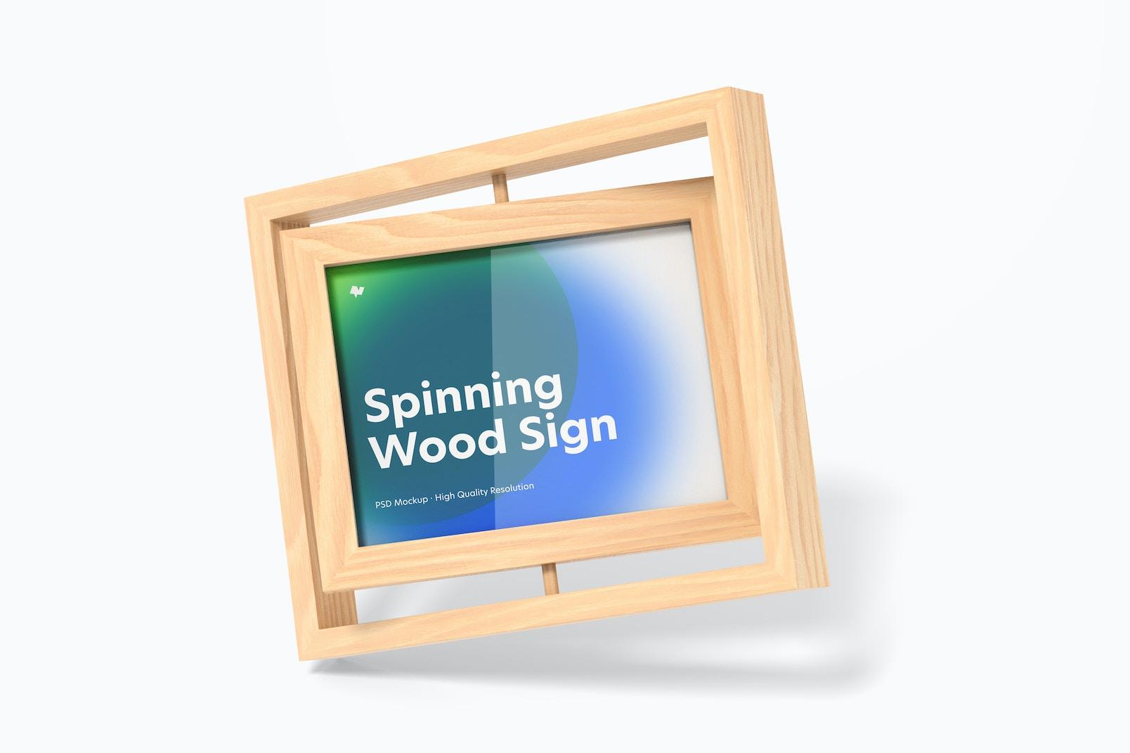 Spinning Wood Frame Sign Mockup, Falling