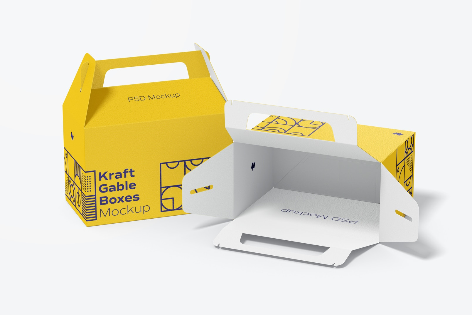 Kraft Gable Boxes Mockup, Opened and Closed