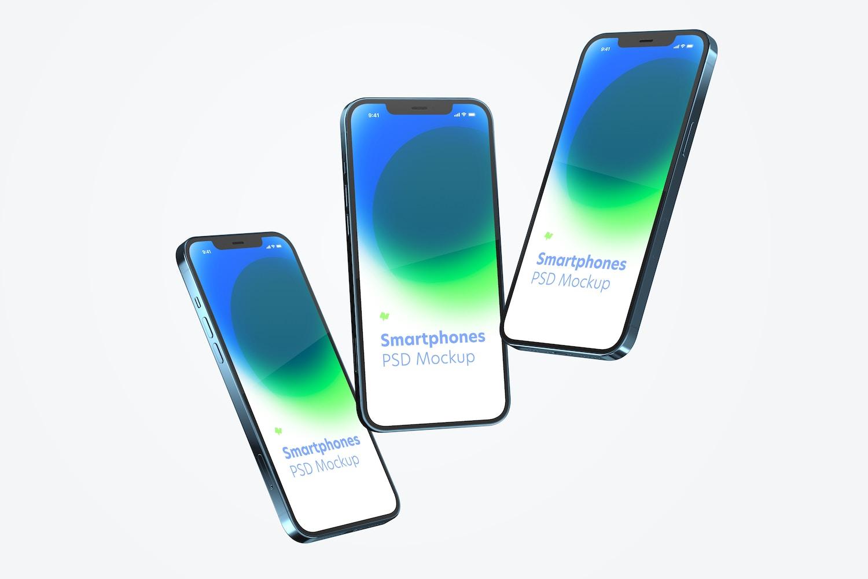 iPhone 12 Set Mockup, Floating