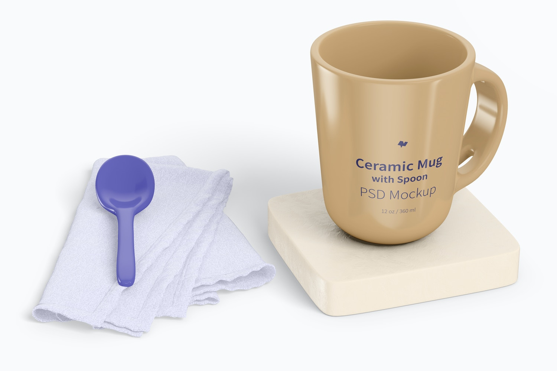 12 oz Ceramic Mug with Spoon Mockup