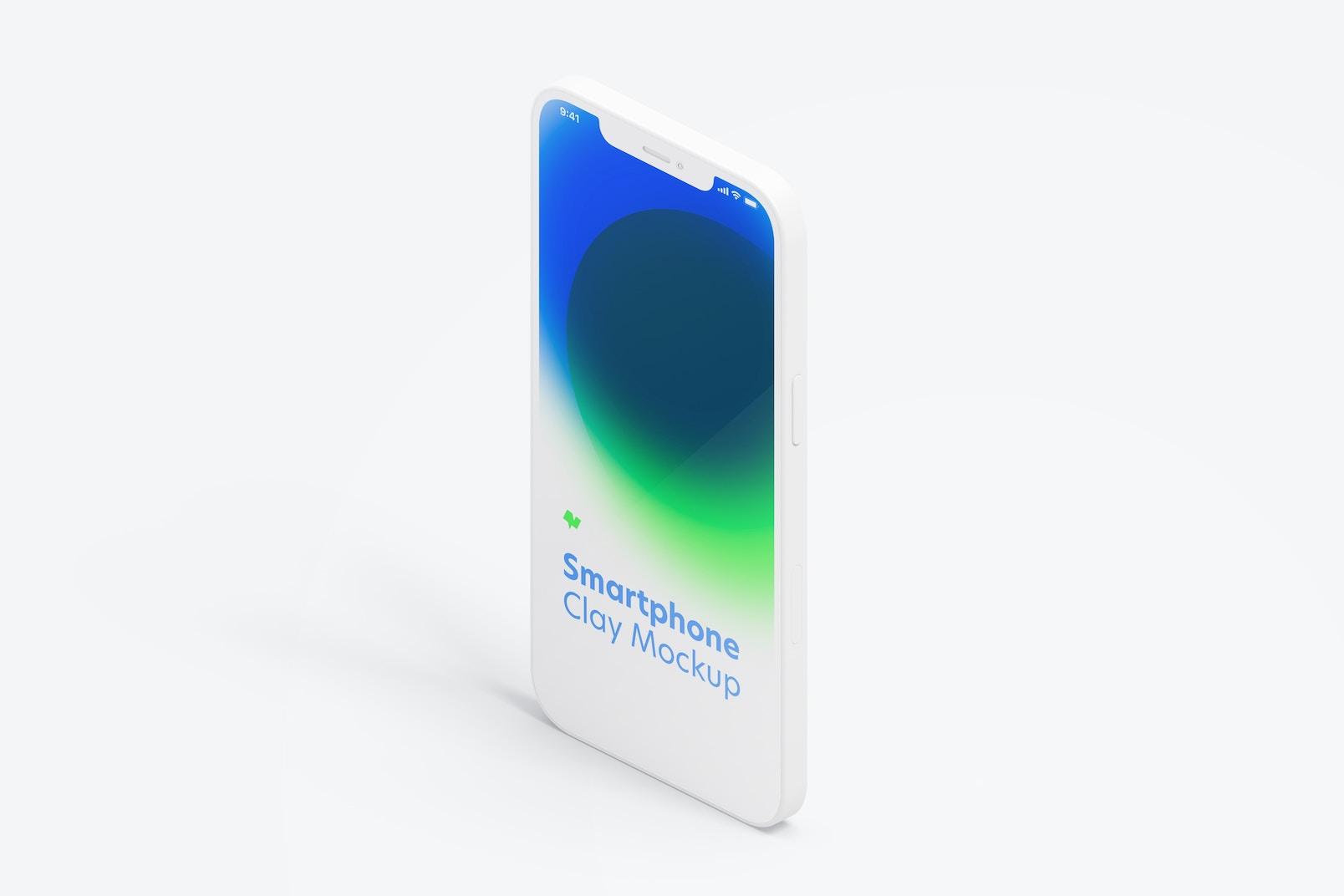Maqueta de iPhone 12 Isométrico Multicolor, Vista Izquierda Vertical