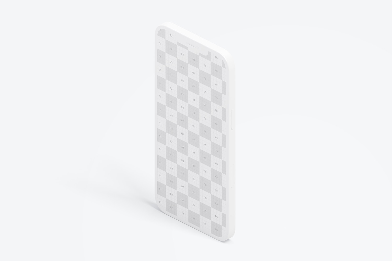 Isometric Clay iPhone 12 Mockup, Portrait Left View