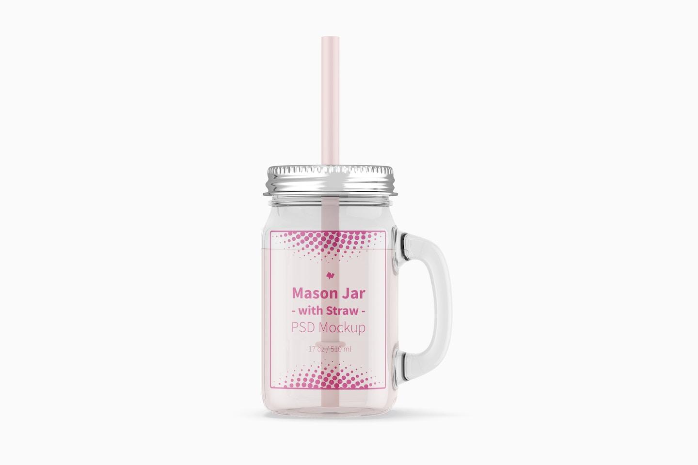 17 oz Mason Jar with Straw Mockup, Front View
