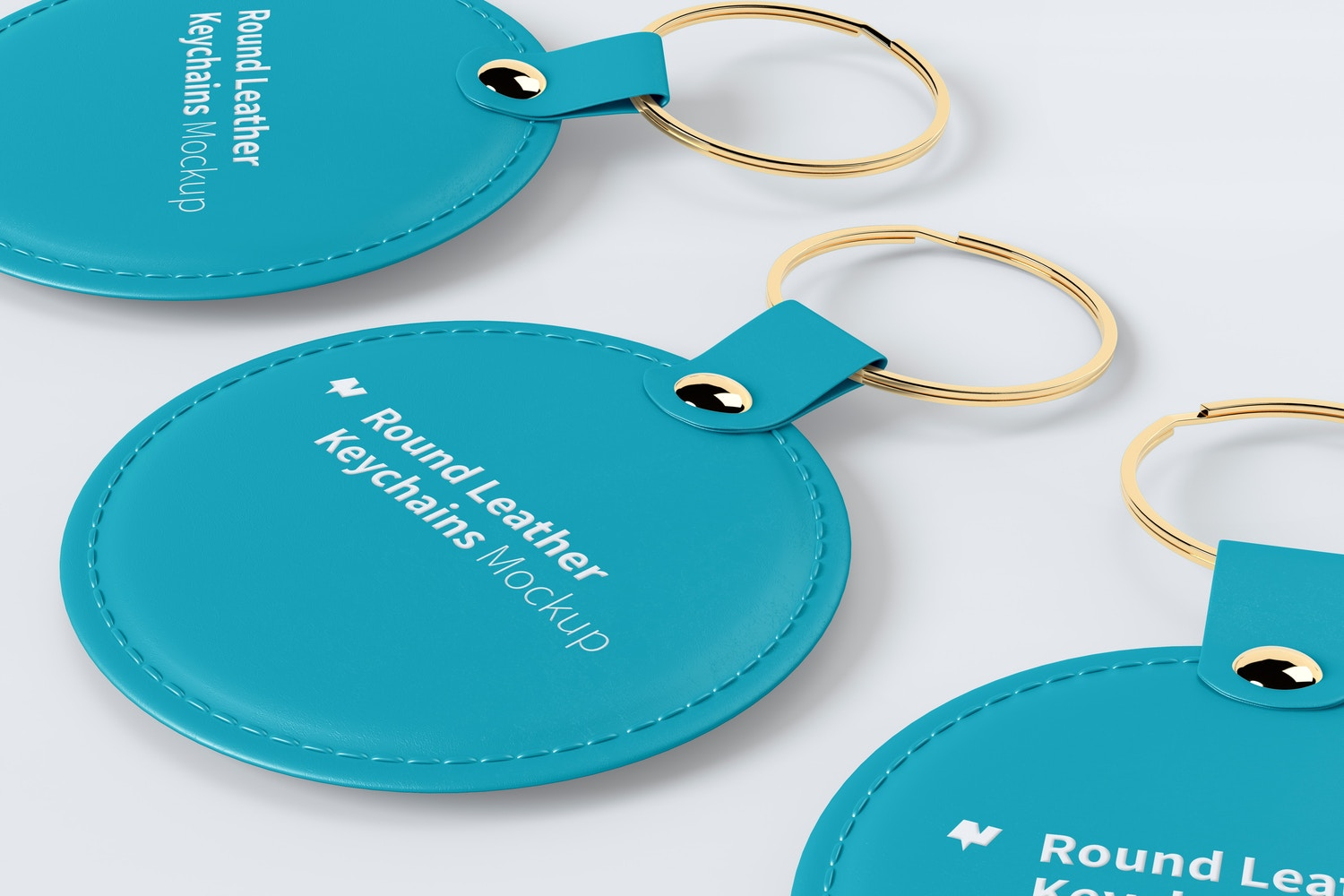 Round Leather Keychains Mockup, Right View