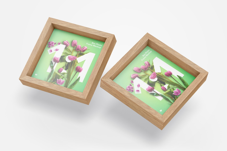 1:1 Box Photo Frames Mockup
