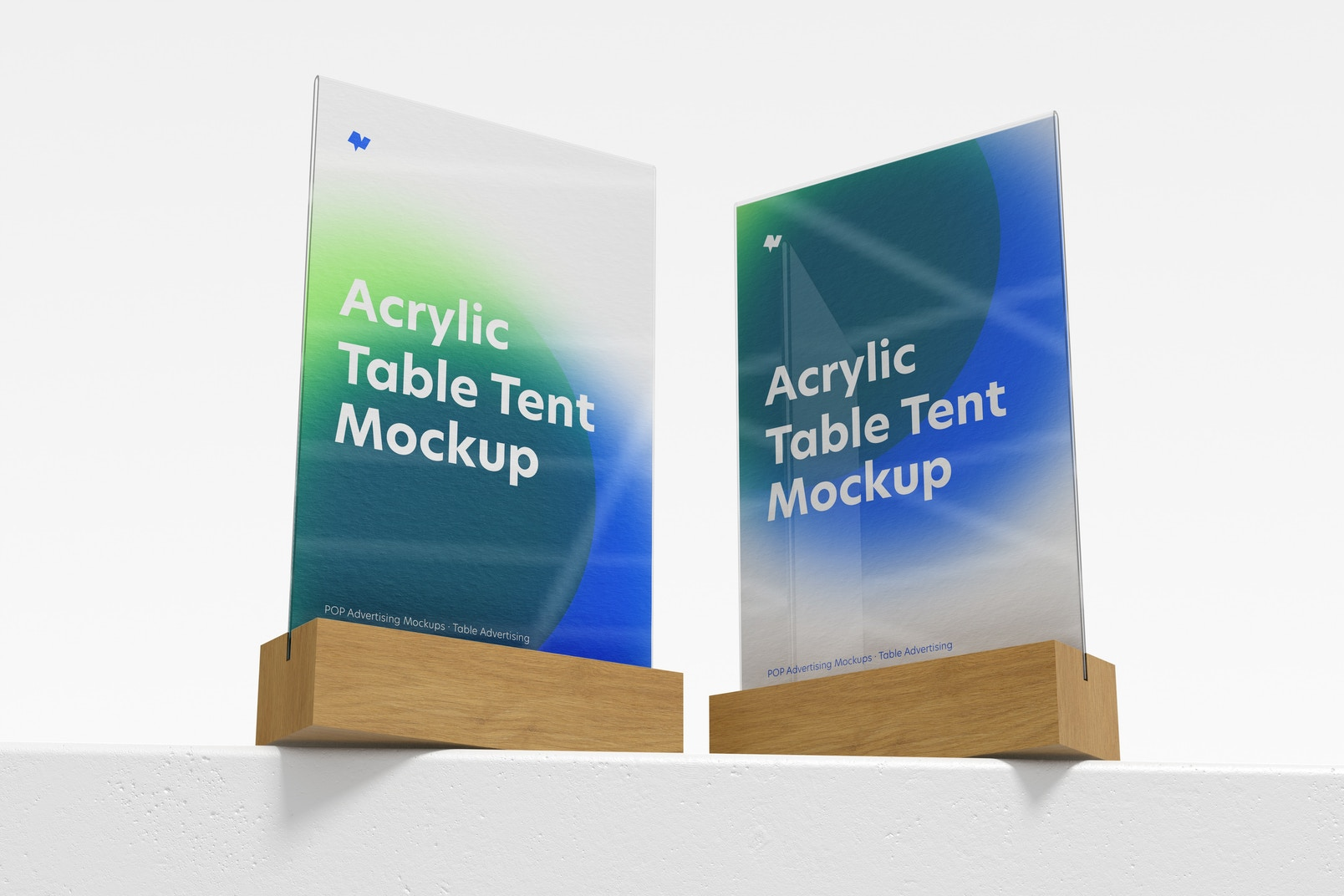 Acrylic Table Tents with Wood Base Mockup, Low Angle View