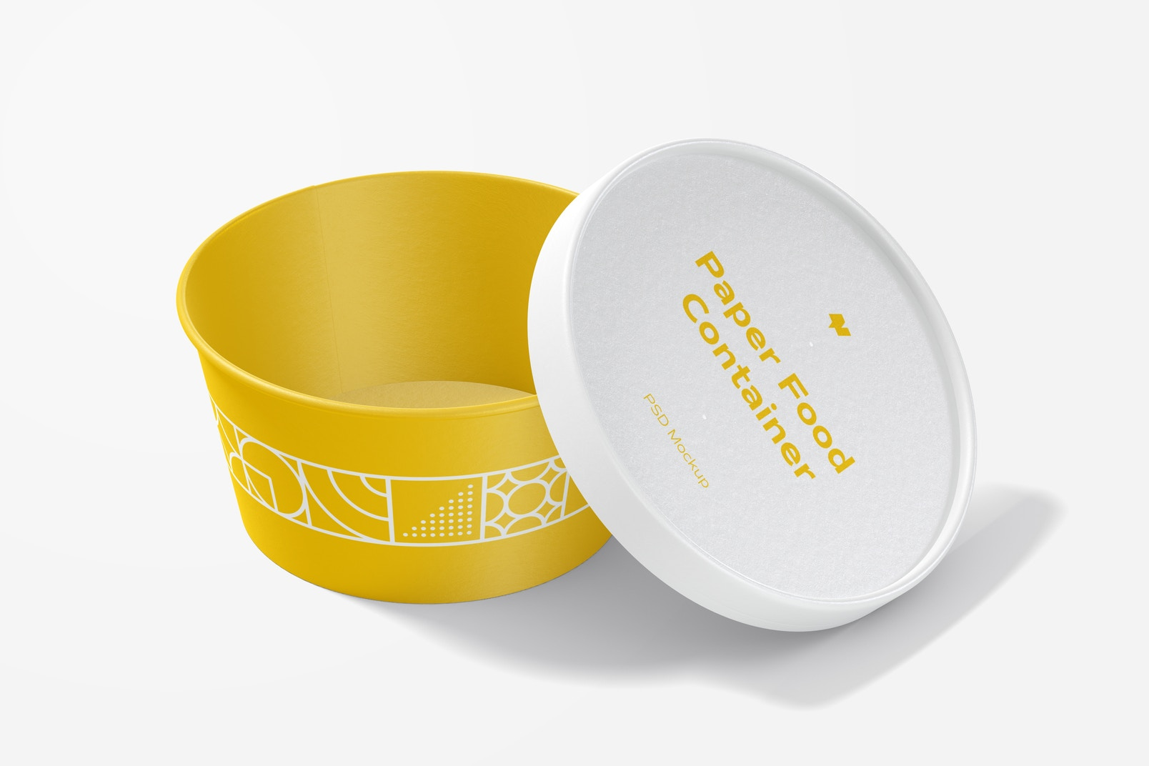 Round Paper Food Delivery Container Mockup, Opened