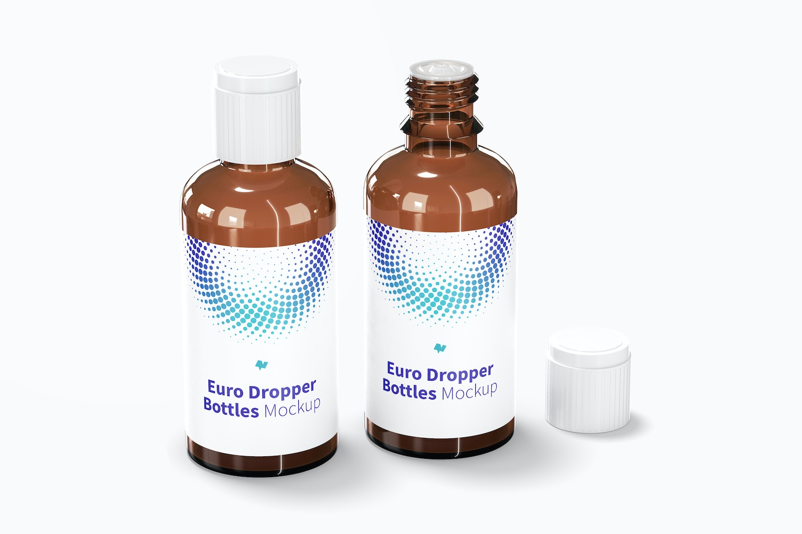Euro Dropper Bottles with Orifice Reducers Mockup, Opened