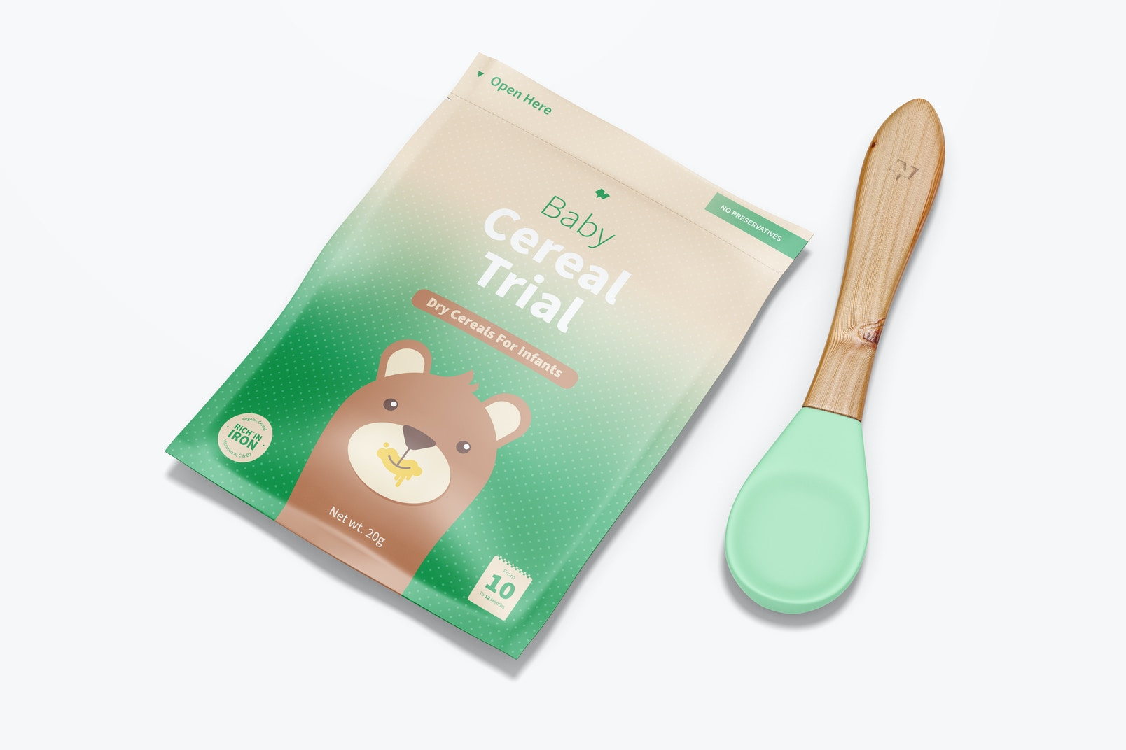 Baby Cereal Trial Pack With Spoon Mockup