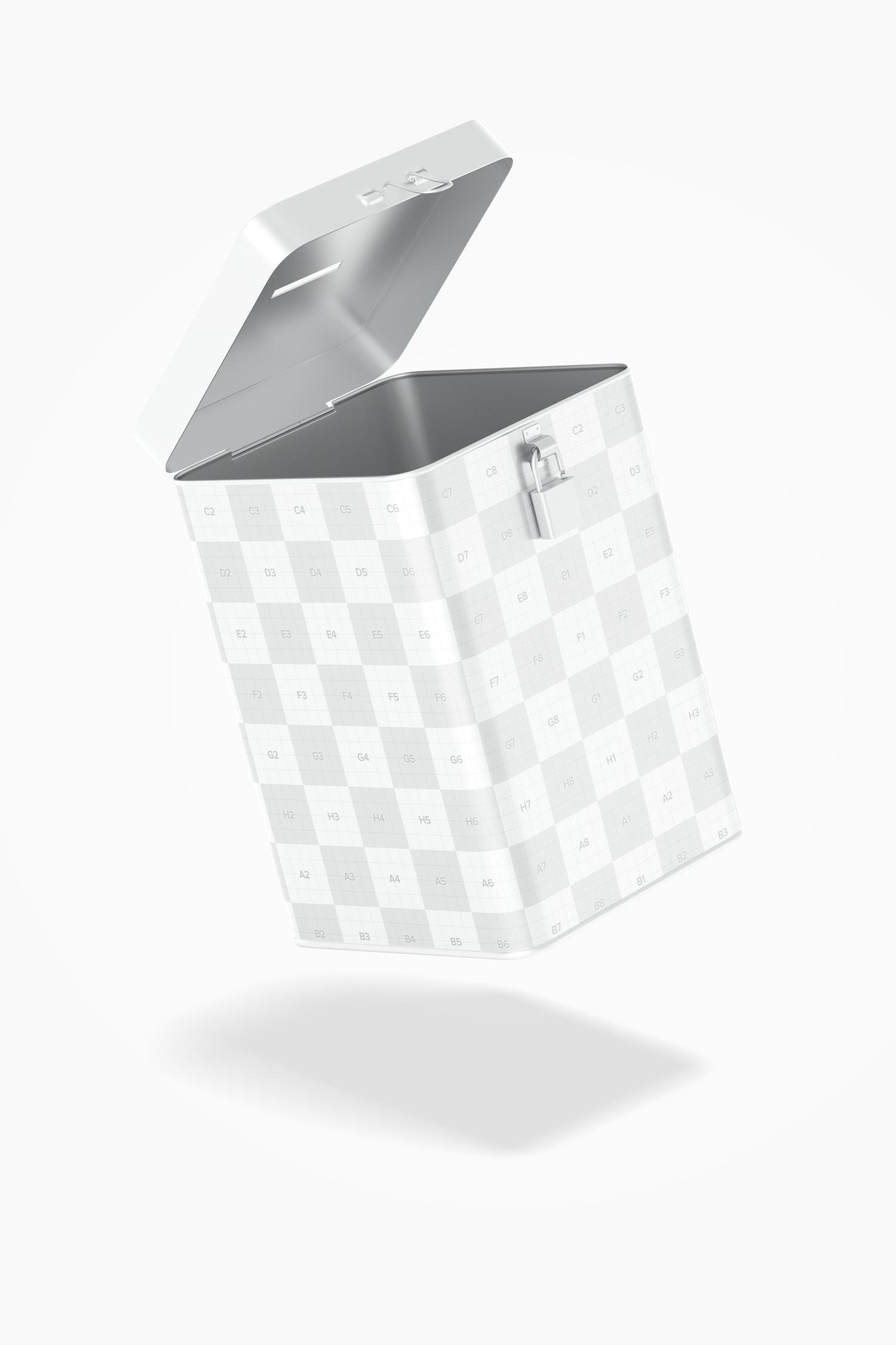 Metal Rectangular Moneybox Mockup, Floating