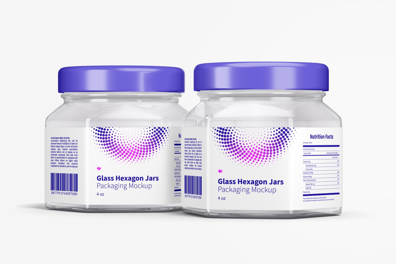 4 oz Glass Hexagon Jars Mockup