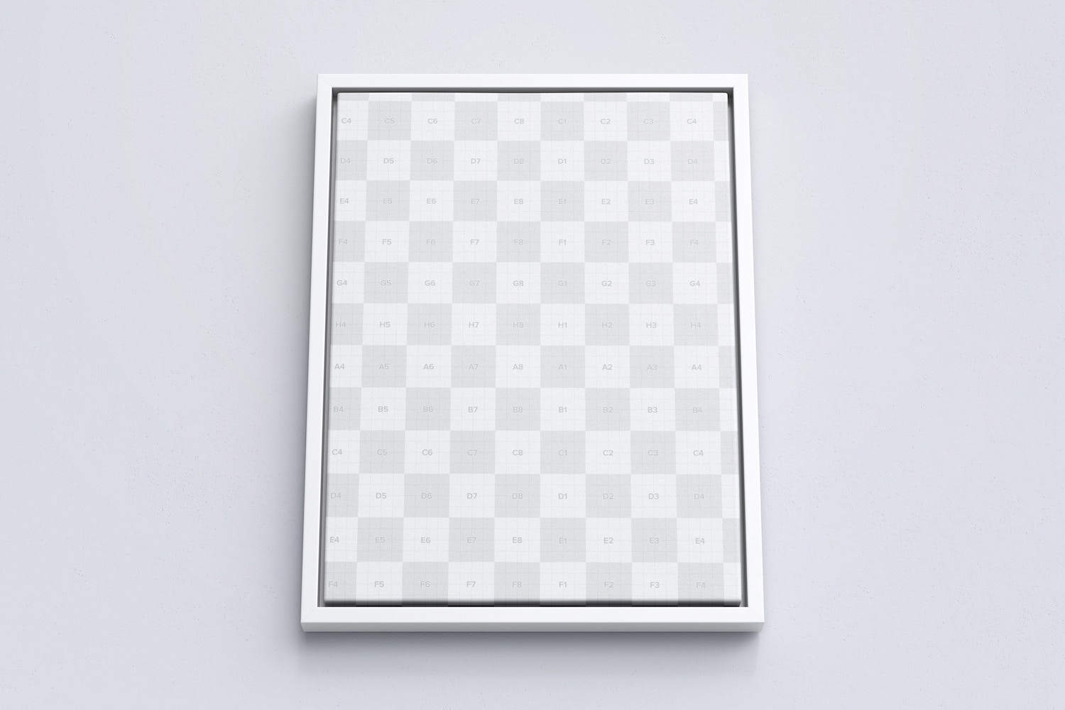3:4 Portrait Canvas Mockup in Floater Frame, Bottom Front View
