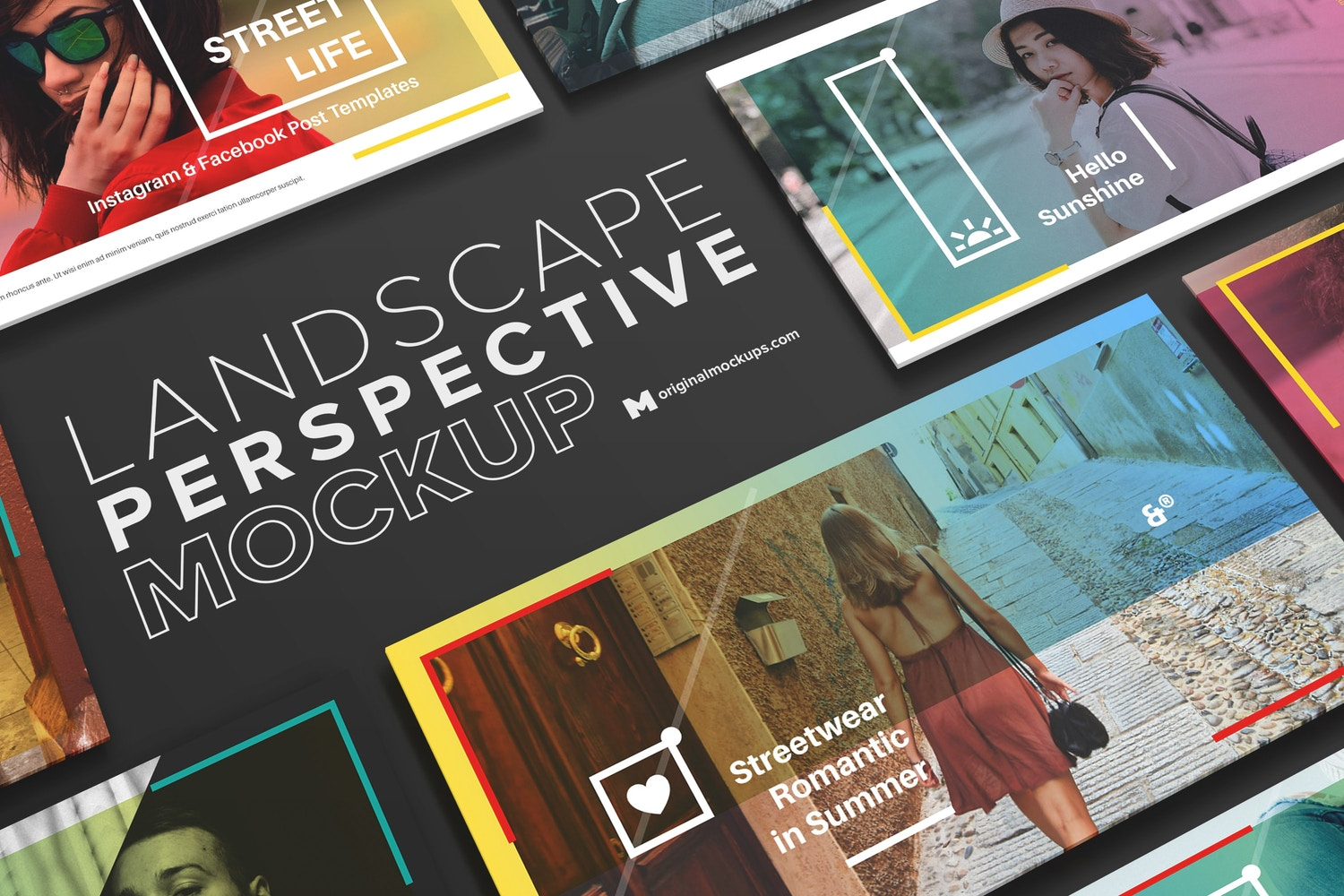 Multipurpose Landscape Perspective Grid Mockup for Facebook Post
