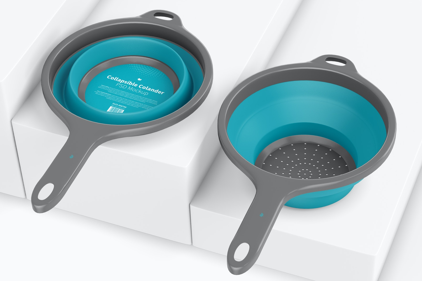 Collapsible Colanders Mockup, Perspective View