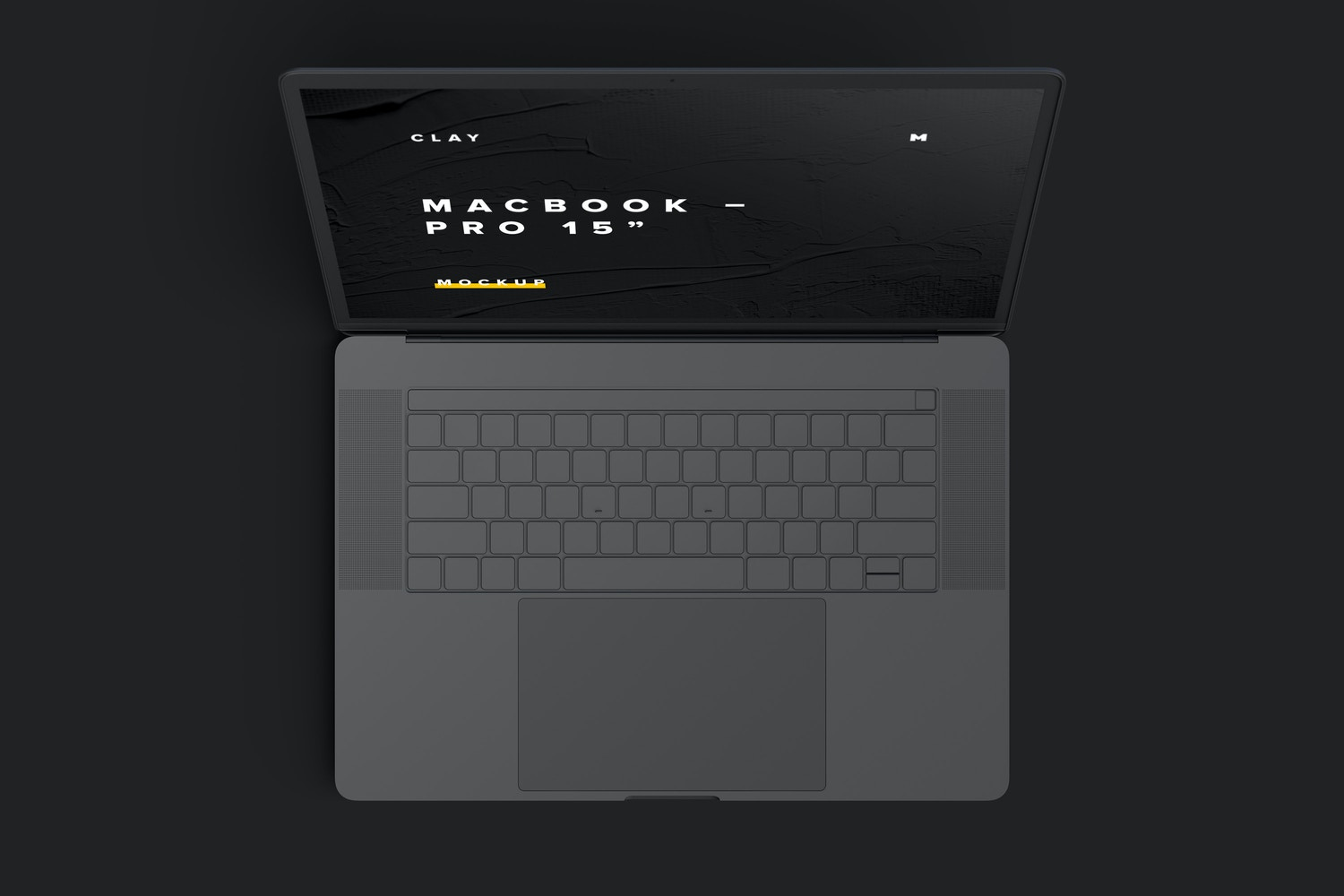 """Clay MacBook Pro 15"""" with Touch Bar, Top View Mockup (6) by Original Mockups on Original Mockups"""