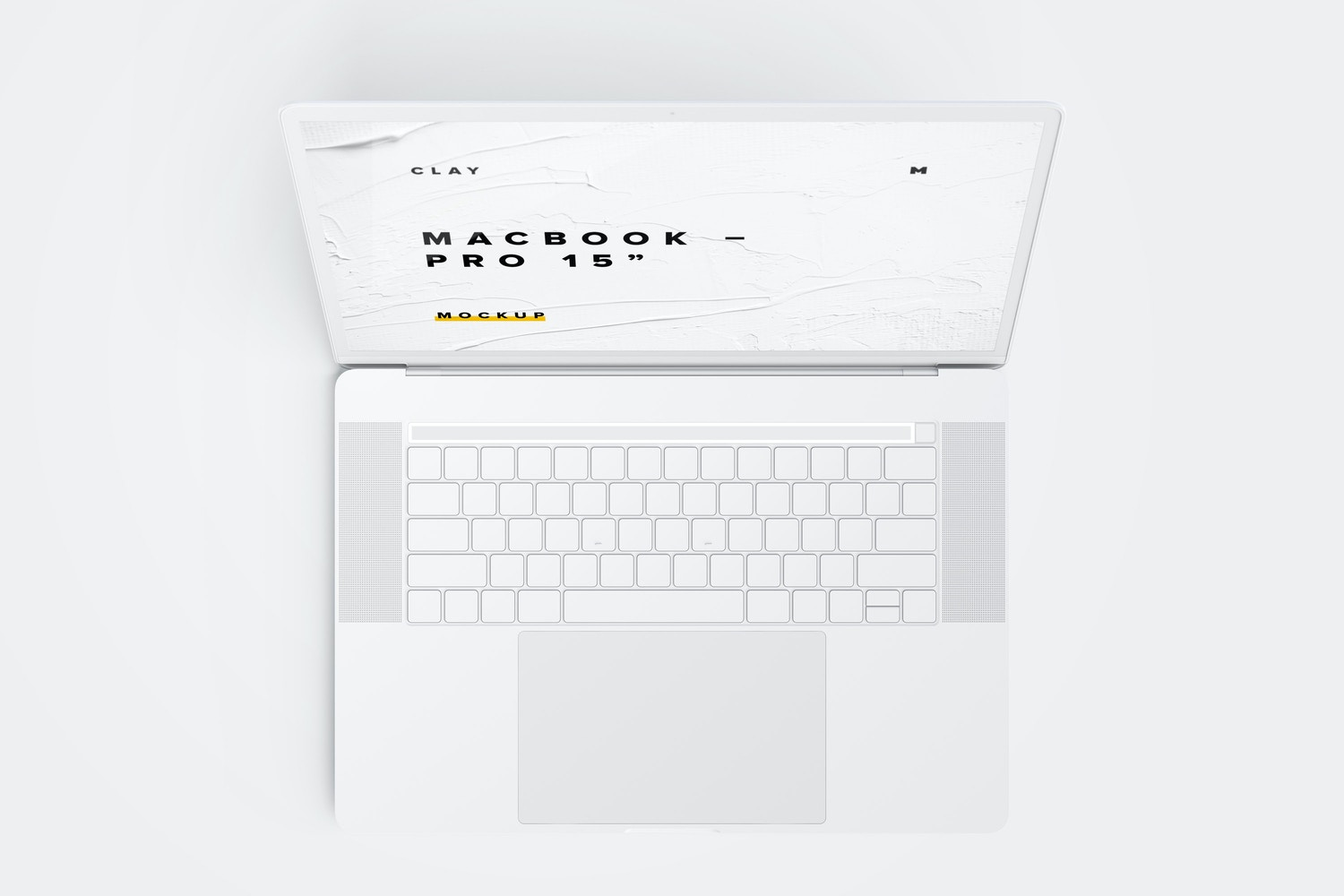 """Clay MacBook Pro 15"""" with Touch Bar, Top View Mockup"""