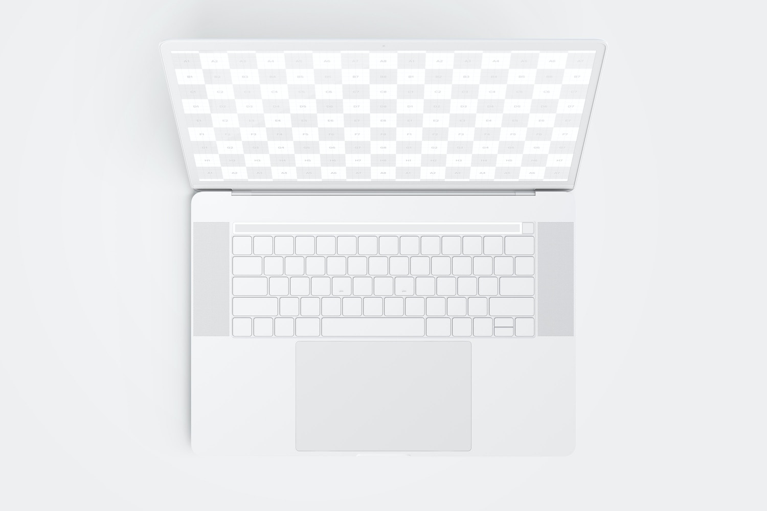 """Clay MacBook Pro 15"""" with Touch Bar, Top View Mockup (2) by Original Mockups on Original Mockups"""
