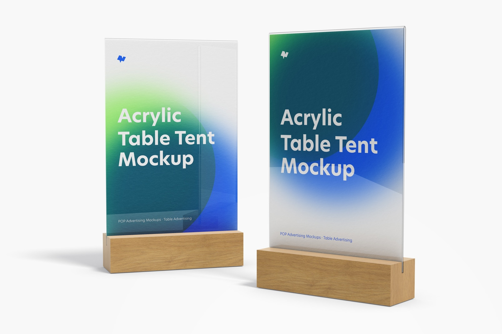 Acrylic Table Tents with Wood Base Mockup, Perspective