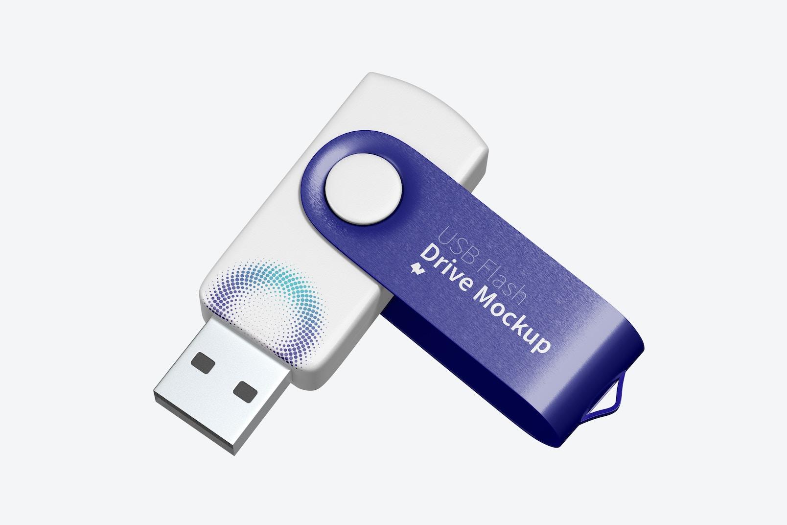 USB Flash Drive Opened Mockup, Falling