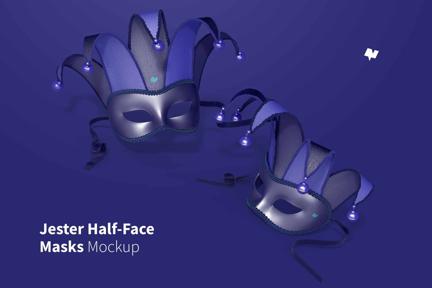 Jester Half-Face Masks Mockup, Right View